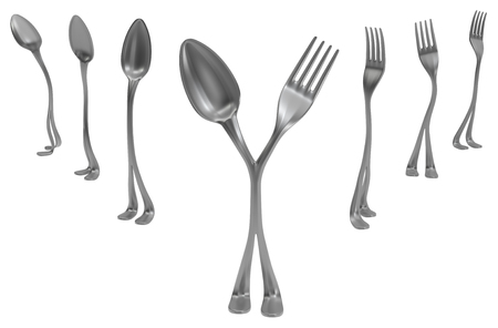 Forks and spoons metal with legs, center split into two, 3d illustration, horizontal, isolated, over white