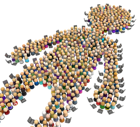 Crowd of small symbolic figures forming big person shape edge workers using laptops, 3d illustration, horizontal, isolated, over white