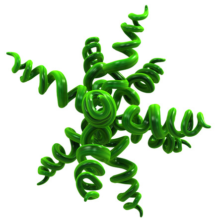 Plant vines green growing twisting spiral star shape, 3d illustration, horizontal, isolated, over white