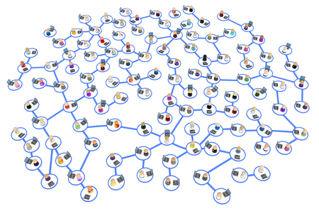 Crowd of small symbolic 3d figures using laptops, local system, blue circles linked by lines, over white, horizontal, isolated