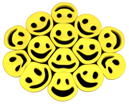 Happy face symbol objects friends, 3d illustration, horizontal, isolated, over white 写真素材