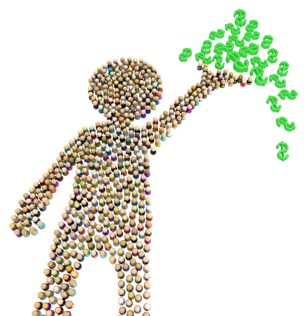Crowd of small symbolic figures forming big person shape holding money pile, 3d illustration, horizontal, isolated, over white