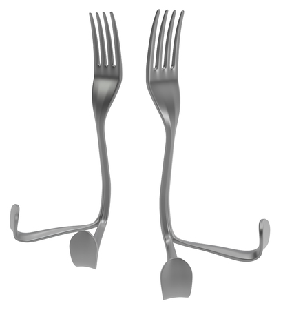 Fork metal with legs sitting two, 3d illustration, horizontal, isolated, over white