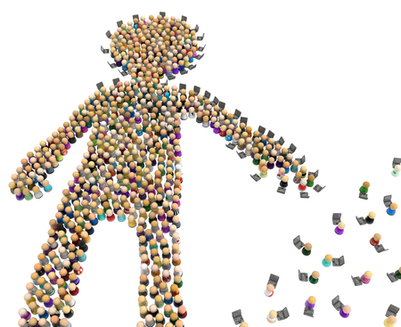 Crowd of small symbolic figures forming big person shape laptops reaching, 3d illustration, horizontal, isolated, over white Stock Photo