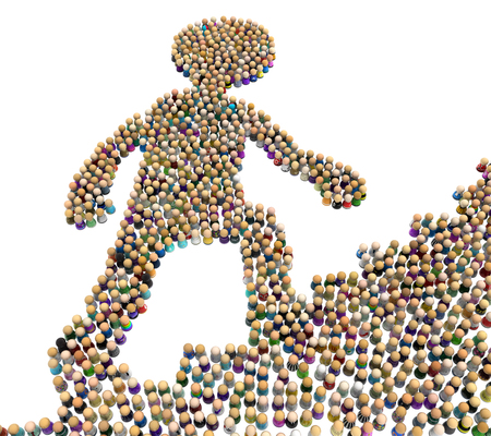 Crowd of small symbolic figures forming big person shape climbing stairs upwards, 3d illustration, horizontal, isolated, over white