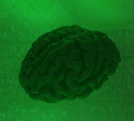 Brain green, cyberspace virtual reality abstract 3d illustration, horizontal 스톡 콘텐츠