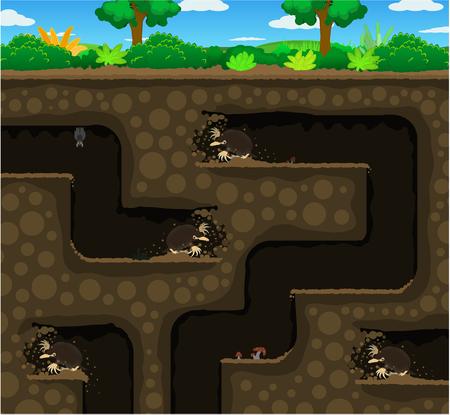 Moles digging tunnel underground, color vector cartoon illustration horizontal