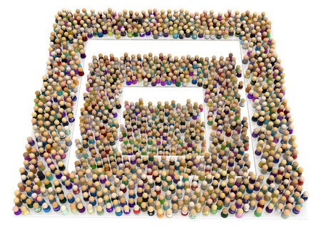 Crowd of small symbolic figures, square levels, 3d illustration, horizontal background, over white, isolated