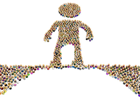Crowd of small symbolic figures forming big person shape on thin ice, 3d illustration, horizontal, isolated, over white