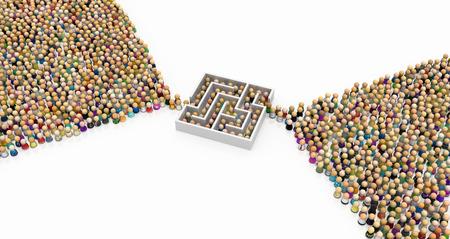 Menge kleiner symbolischer Figuren, Labyrinth-Engpass, 3D-Darstellung, horizontaler Hintergrund, über Weiß, isoliert