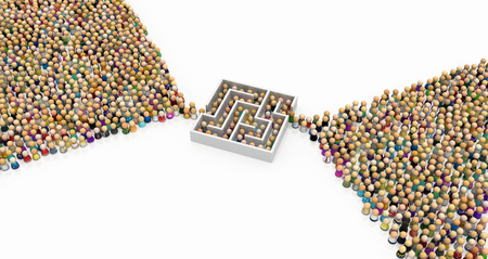 Crowd of small symbolic figures, labyrinth bottleneck, 3d illustration, horizontal background, over white, isolated Stock Photo
