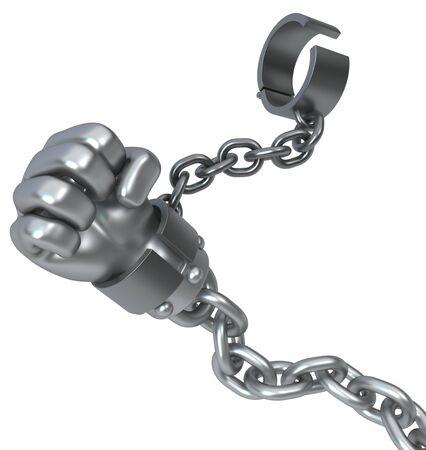 Manilles de chaîne en métal de poing, illustration 3d, isolée, horizontale, over white