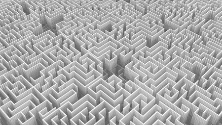 Labirinto bianco pareti affettate denso 3d illustrazione astratta, orizzontale Archivio Fotografico