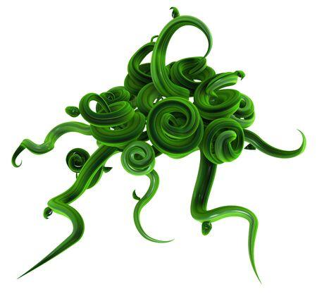 Plant vines green growing twisting swirl bunch unraveling, 3d illustration over white 版權商用圖片