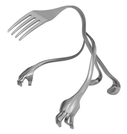 Fork cartoon character metal, crouching pose, 3d illustration, horizontal, isolated, over white