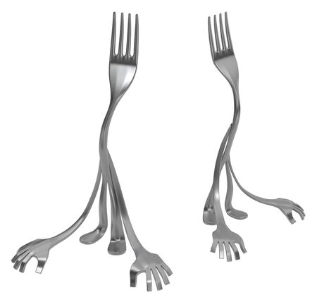 Fork cartoon character metal, front and side, 3d illustration, horizontal, isolated, over white