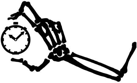 Skeleton arm bones holding clock silhouette stencil black, vector illustration, horizontal, over white, isolated