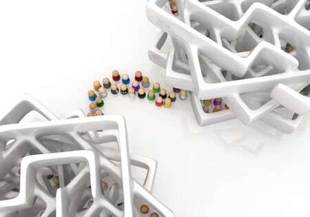 Crowd of small symbolic figures, between labyrinth stacks, 3d illustration, horizontal background