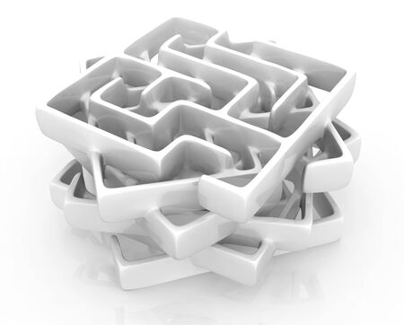 Labyrinth puzzle stack construction white 3d illustration abstract, horizontal Stockfoto