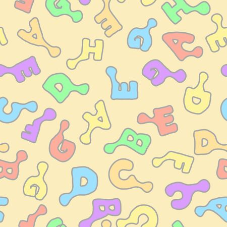 Letters learning colorful seamless repeating texture pattern, vector illustration, square background