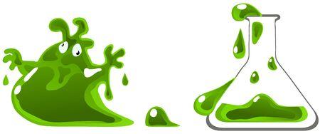 Chemical monster vector cartoon illustration design element horizontal, over white, isolated