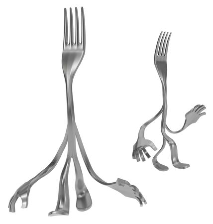 Fork cartoon character metal, walking pose, 3d illustration, horizontal, isolated, over white