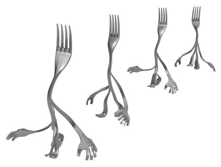 Fork cartoon character metal, four walking in line, 3d illustration, horizontal, isolated, over white