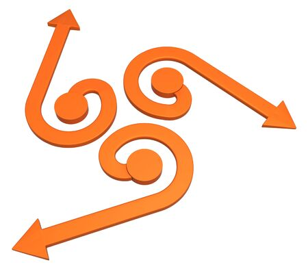 Orange symbolic arrow uncurl, 3d illustration, horizontal, over white, isolated