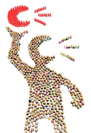 Crowd of small symbolic figures forming big person shape holding talk symbol, 3d illustration, vertical, isolated, over white