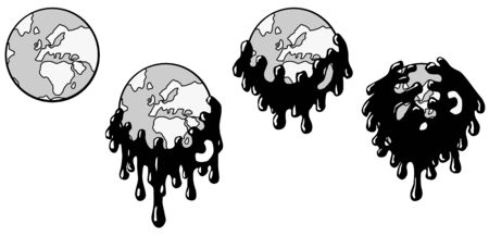 Pollution monster swallowing world globe four stages animated, vector cartoon illustration horizontal, over white, isolated