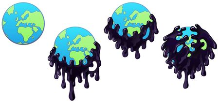 Pollution monster swallowing world globe four stages animated, vector cartoon color illustration horizontal, over white, isolated Vectores