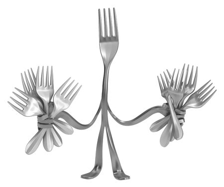 Fork cartoon character metal, holding many, 3d illustration, horizontal, isolated, over white