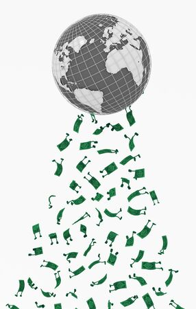 Dollar money symbol cartoon characters world falling, 3d illustration, vertical, isolated, over white