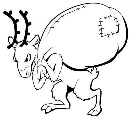 Christmas party celebration, reindeer disgruntled carrying heavy sack humorous line drawing illustration, horizontal, over white, isolated Illustration