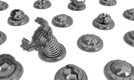 Traps round metal catches, 3d illustration, isolated, horizontal, over white 版權商用圖片