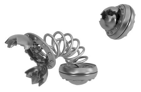 Trap round metal catch pod, 3d illustration, isolated, horizontal, over white 版權商用圖片