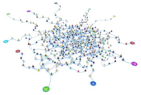 Multitud de pequeñas figuras simbólicas en 3D unidas por líneas, puntos exteriores inalámbricos, red de sistema en capas, aislado, sobre blanco, horizontal