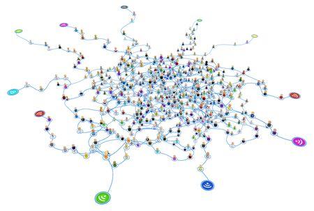 Tłum małych symbolicznych postaci 3D połączonych liniami, bezprzewodowymi punktami zewnętrznymi, warstwową siecią systemową, odizolowanymi, nad białymi, poziomymi