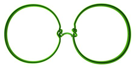Plant vines green growing twisting spectacles shape, 3d illustration, horizontal, isolated, over white Zdjęcie Seryjne