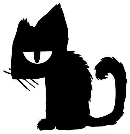 Bored cat cartoon character black silhouette, vector illustration, horizontal, isolated, over white Ilustração