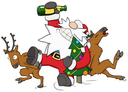 Christmas party celebration, reindeer pushing drunk Santa forward humorous cartoon illustration, horizontal, over white, isolated