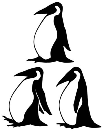 Walking penguin, stencil black, vector illustration, horizontal, isolated