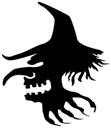 Witch head flying stencil black, vector illustration, horizontal, isolated Stock Illustratie