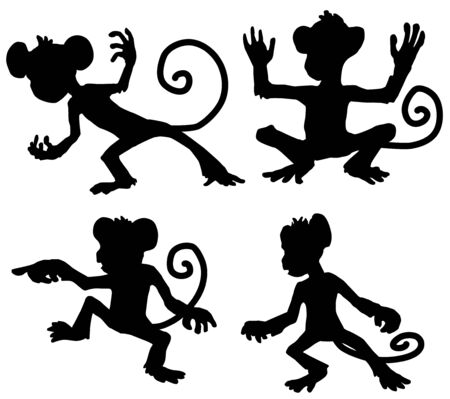 Monkey moves cartoon character black silhouette, vector illustration, horizontal, isolated, over white