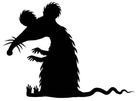 Big rat cartoon character black silhouette, vector illustration, vertical, isolated, over white Vektorgrafik