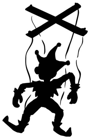 Marionette silhouette cartoon character black silhouette, vector illustration, vertical, isolated, over white 向量圖像