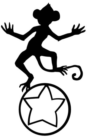 Monkey balancing on the ball, cartoon character black silhouette, vector illustration, horizontal, isolated, over white