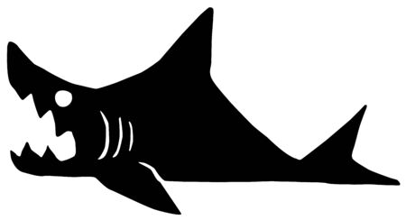 Shark lying on land with mouth open biting, cartoon character black silhouette, vector illustration, horizontal, isolated, over white 일러스트