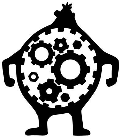Body gears figure symbol black, vector illustration, vertical, isolated