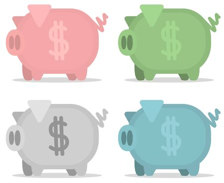 Piggy bank, four colors, vector cartoon illustration design element horizontal, over white, isolated Illustration